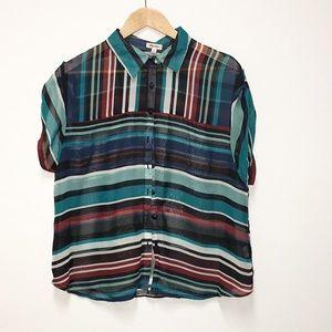 Lily Star multicolored chiffon crop blouse XL